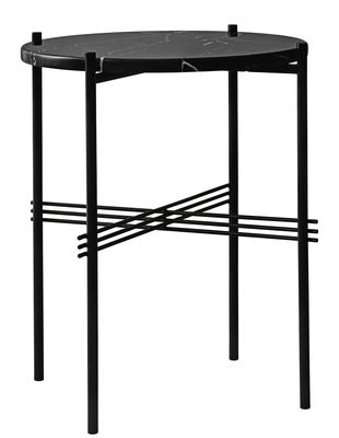 Furniture - Coffee Tables - TS Coffee table - / Ø 40 cm - H 51 cm - Marble by Gubi - Black - Top : Black Marble - Lacquered metal, Marquina marble