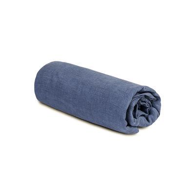 Drap-housse 180 x 200 cm / Lin lavé - Au Printemps Paris mini pied-de-poule bleu en tissu