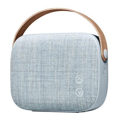 Tendances - Home office coloré et accueillant - Enceinte Bluetooth Helsinki / Sans fil - Tissu & poignée cuir - Vifa - Bleu flou - Aluminium, Cuir, Tissu Kvadrat