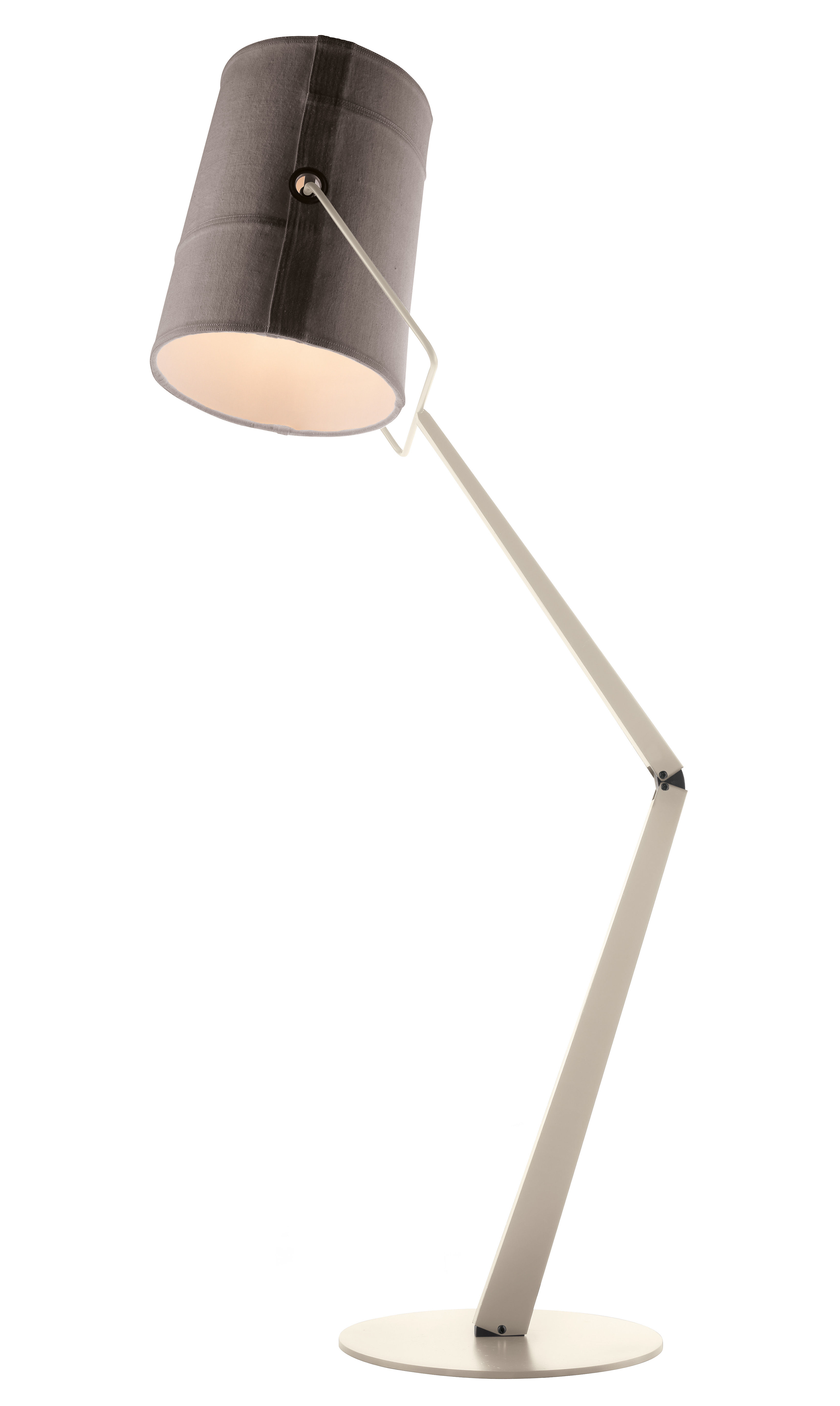 Lighting - Floor lamps - Fork Floor lamp by Diesel with Foscarini - Grey / Ivory base - Fabric, Varnished metal