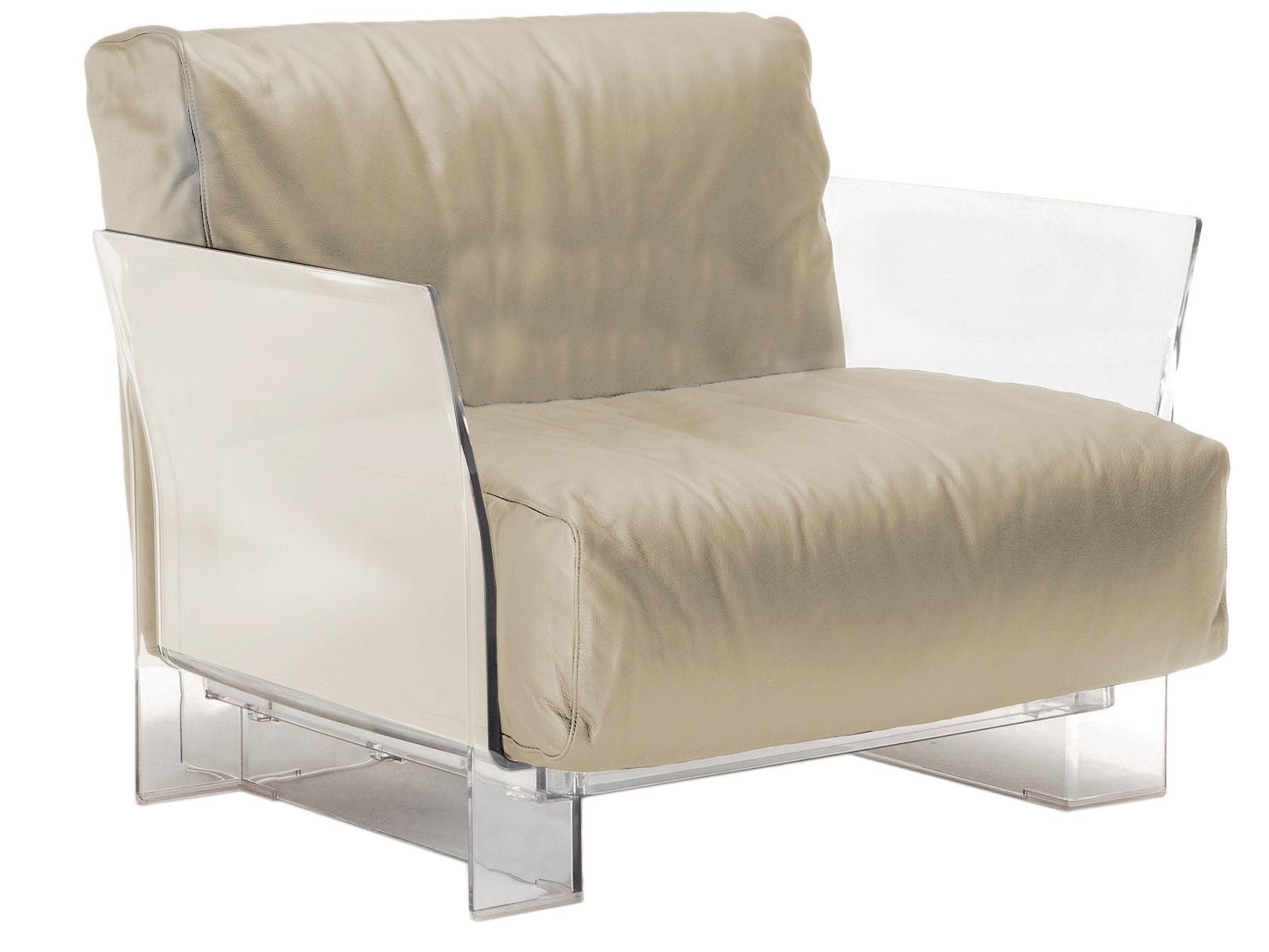 Möbel - Lounge Sessel - Pop Outdoor Gepolsterter Sessel - Kartell - Ecru - Polykarbonat, Sunbrella-Gewebe