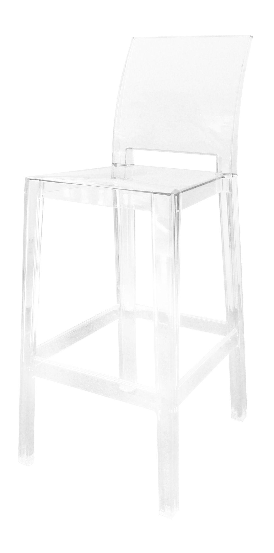Möbel - Barhocker - One more please Hochstuhl Barhocker H 65 cm - Rückenlehne quadratisch - Kartell - Kristall - Polykarbonat