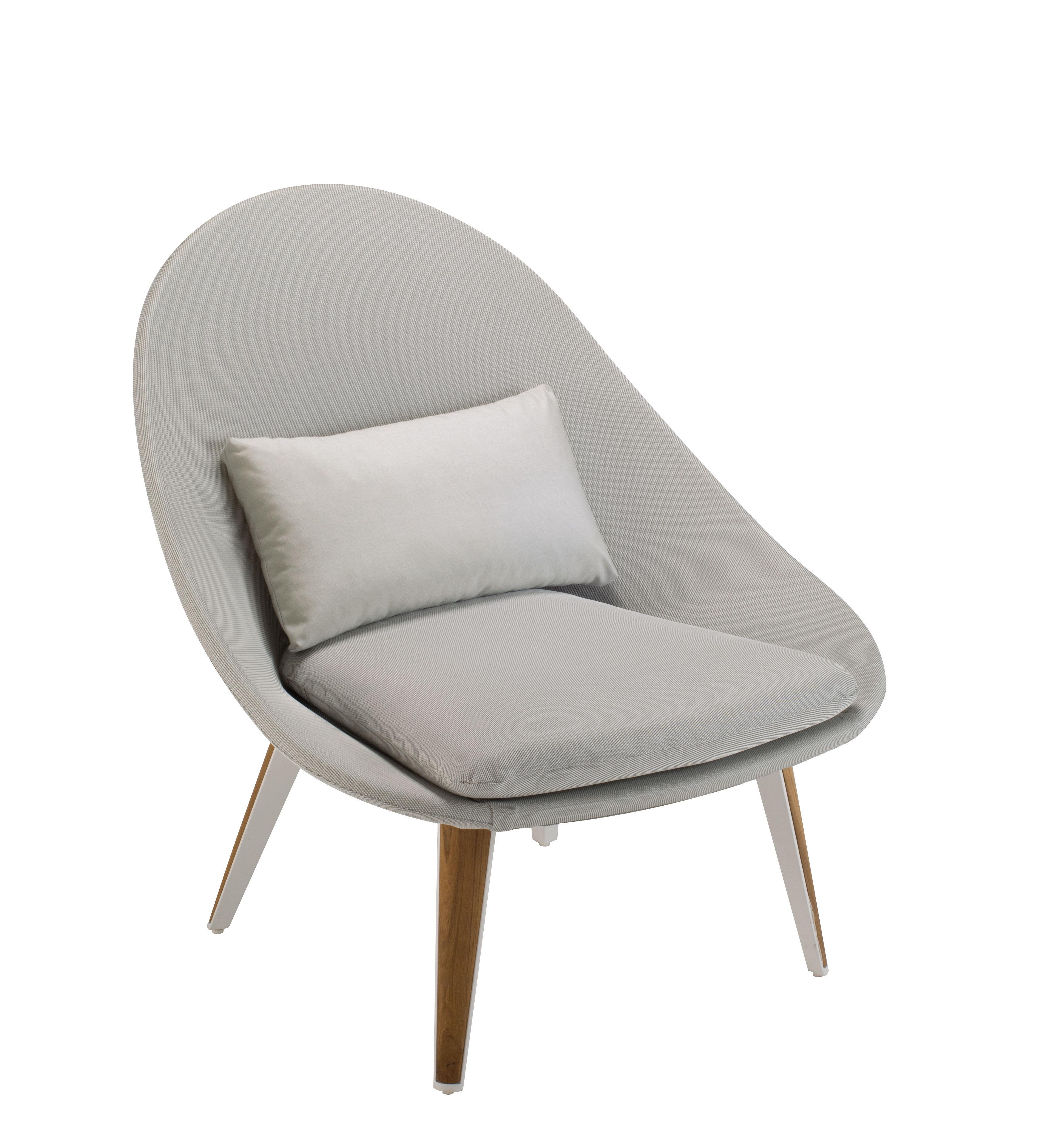 Furniture - Armchairs - Vanity Low armchair - Fabric & teak by Vlaemynck - Grey / White & teak - Lacquered aluminium, Polyurethane foam, Sling canvas, Teak
