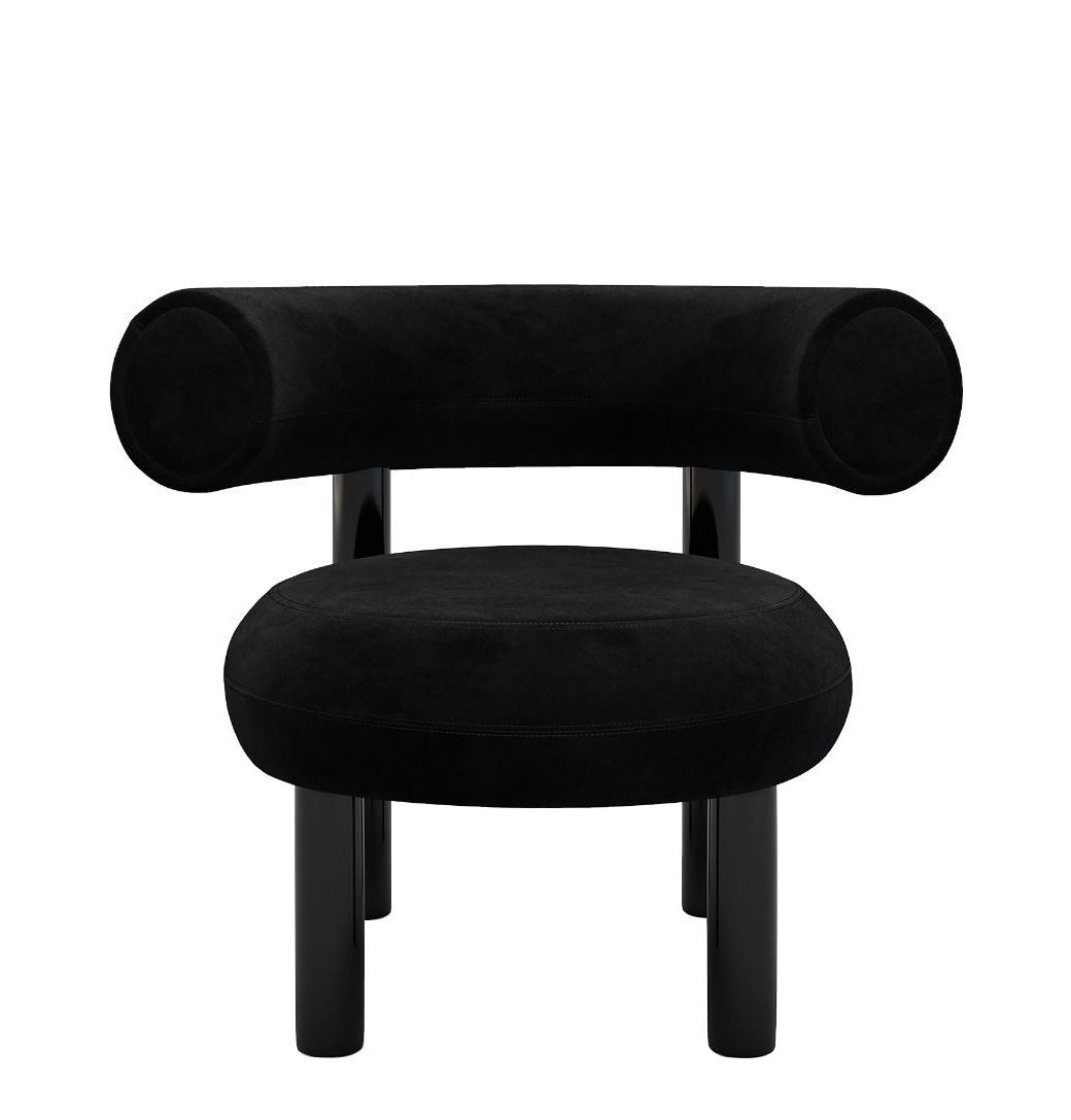 Furniture - Armchairs - Fat Padded armchair - / Velvet by Tom Dixon - Black - Lacquered steel, Mousse moulée, Velvet