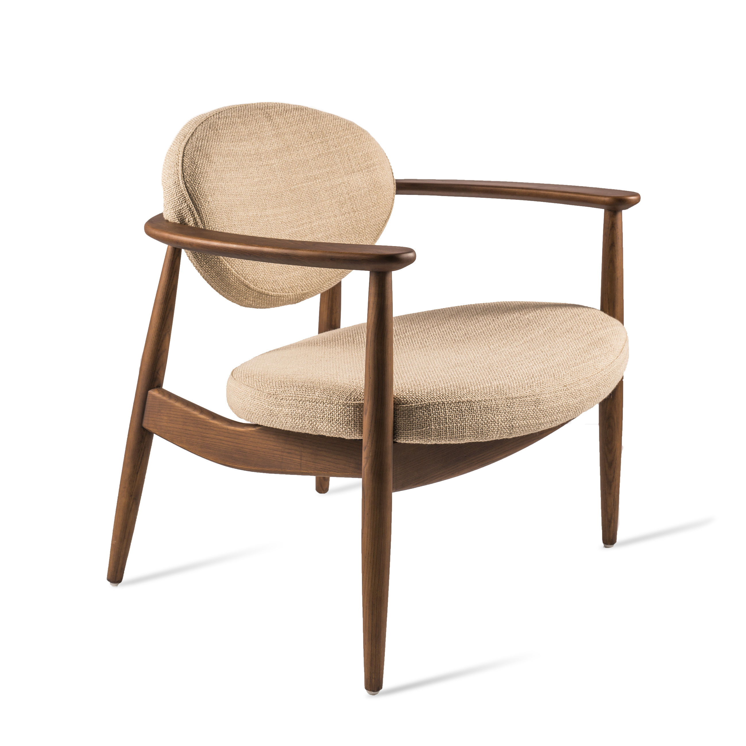 Furniture - Armchairs - Roundy Padded armchair - / Fabric & wood by Pols Potten - Beige / Wood - Fabric, Foam, Varnished ashwood