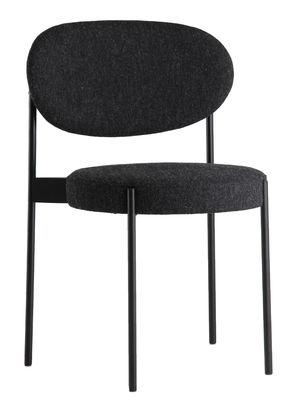 Furniture - Chairs - Series 430 Padded chair - Stackable - Fabric & Metal by Verpan - Dark grey - Foam, Kvadrat fabric, Stainless steel