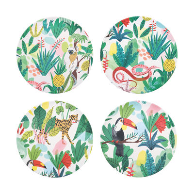 Tableware - Plates - Bodil Plate - / Set of 4 - Bamboo by & klevering - Tropical jungle - Bamboo fibre