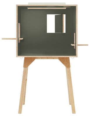 Arredamento - Mobili per bambini - Scrivania Koloro - / L 73 cm di Ichiro - Verde scuro / Legno chiaro - Compensato, Frassino massello