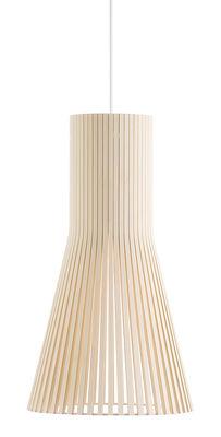 Illuminazione - Lampadari - Sospensione Secto S - / Ø 25 cm di Secto Design - Betulla naturale / Cavo bianco - Doghe di betulla, Tessuto