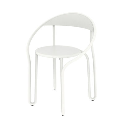 Furniture - Chairs - Huggy Bistro Chair Stackable armchair - / Aluminium by Maiori - White - Aluminium