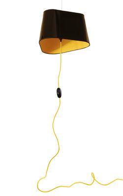 Suspension Grand Nuage L 43 cm / Branchement au sol - Designheure jaune,noir laqué en matière plastique