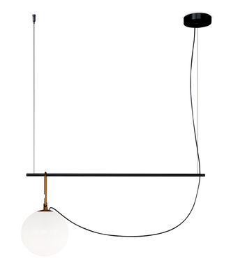 Suspension nh S1 / Globe Ø 22 - L 58 cm - Artemide noir/or en métal/verre