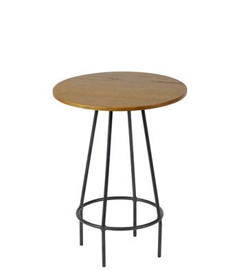Table d'appoint Ula / Bois & métal - Ø 30 cm x H 40,5 cm - Serax noir,bois naturel en métal