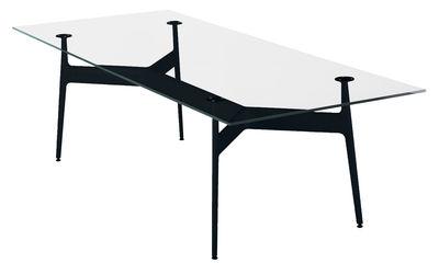 Mobilier - Tables - Table rectangulaire Aracne / Verre - 243 x 100 cm - Eumenes - Structure noire / Plateau cristal - Aluminium, Verre