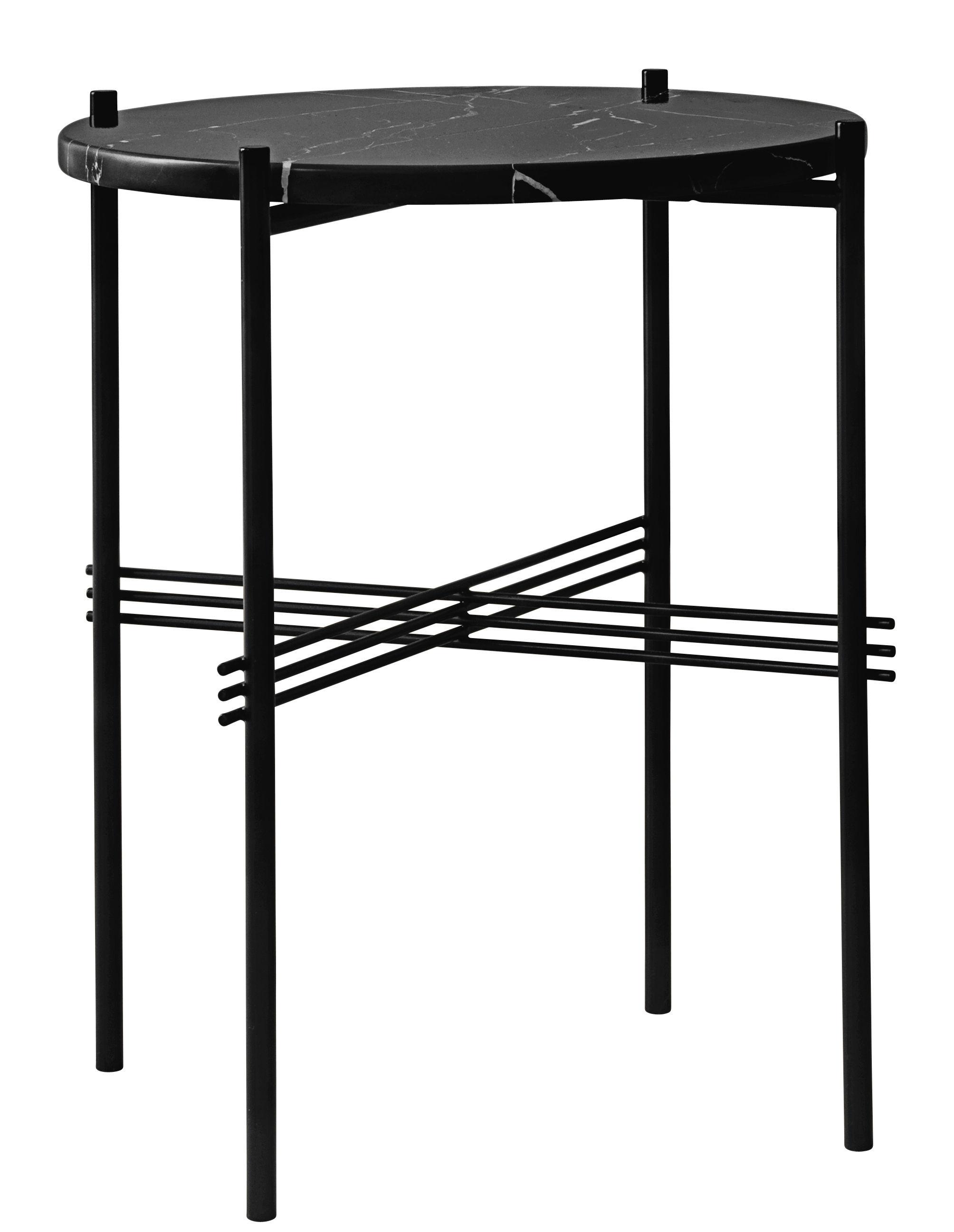 Arredamento - Tavolini  - Tavolino TS - / Gamfratesi - Ø 40 x H 51 cm - Marmo di Gubi - Marmo nero / Piede nero - Marmo Marquina, metallo laccato