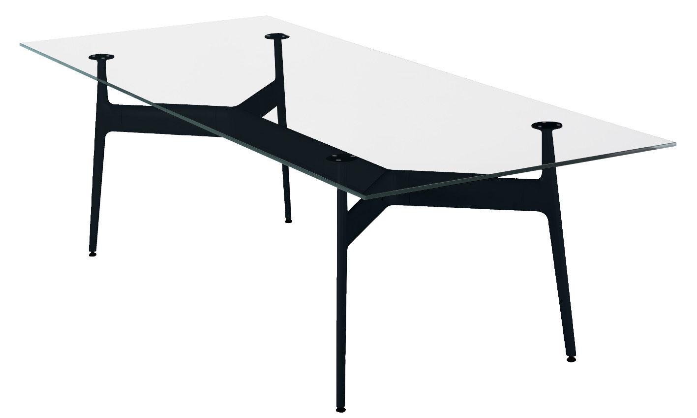 Arredamento - Tavoli - Tavolo rettangolare Aracne - 243 x 100 cm - Top vetro di Eumenes - Struttura nera / Top cristallo - Alluminio, Vetro