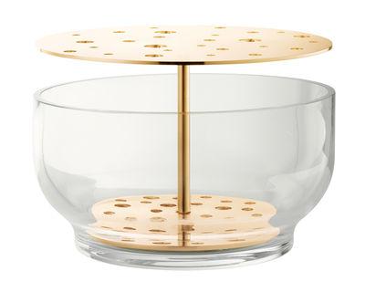 Vase Ikebana Large / Laiton & verre - H 15,5 cm - Fritz Hansen transparent,laiton en métal