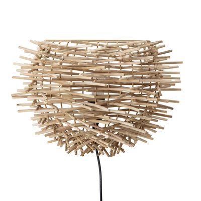 Lighting - Wall Lights - Wall light with plug - / Rattan rods - L 38 x H 28 cm by Bloomingville - Natural - Rattan