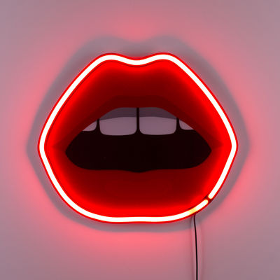 Decoration - Children's Home Accessories - Néon Mouth Wall light with plug - / Acrylic - L 47 x H 40 cm by Seletti - Red - Acrylic, Glass