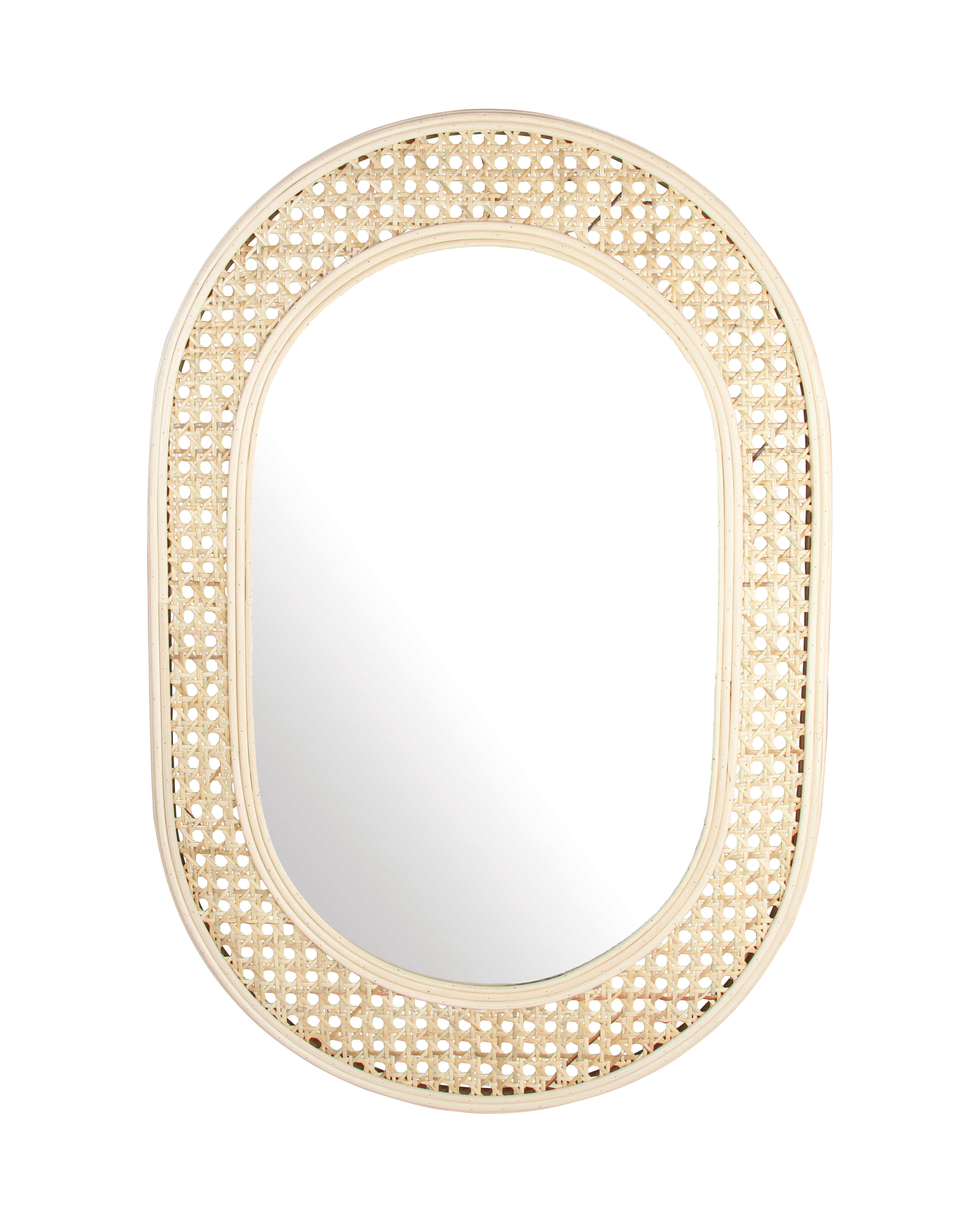Decoration - Mirrors - Cannage ovale Wall mirror - / 60 x 39 cm by & klevering - Natural - Glass, Rottan teak