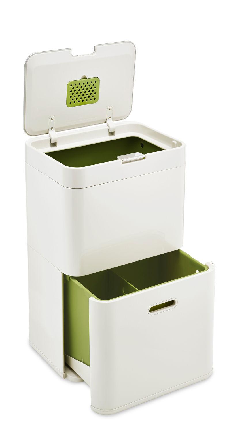 Küche - Mülleimer - Totem 48 Abfallbehälter / 48 l - mit großem Restmüllbehälter und zweigeteilter Schublade - Joseph Joseph - Steingrau - Plastikmaterial, Stahl