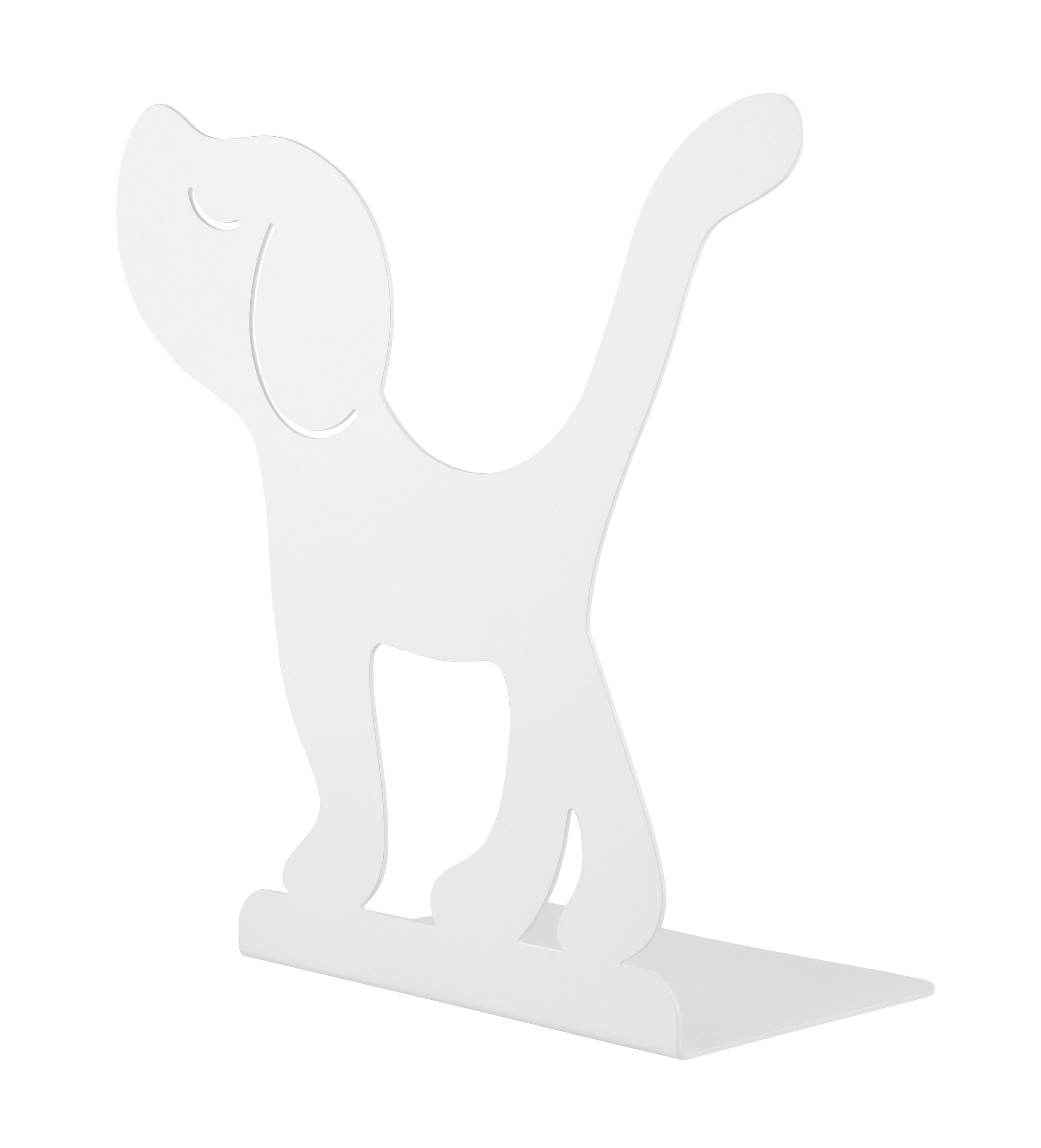 Dekoration - Für Kinder - Montparnasse Buchstütze / Hund - Stahl - A di Alessi - Hund / weiß - bemalter Stahl