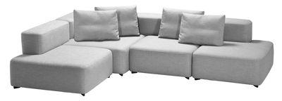 Canapé d'angle Alphabet / Modulable - 4 places - L 300 x P 210 cm - Fritz Hansen gris clair en tissu