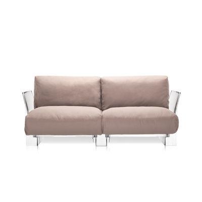 Mobilier - Canapés - Canapé droit Pop Outdoor / 2 places - L 175 cm - Kartell - Tourterelle - Polycarbonate, Tissu Sunbrella