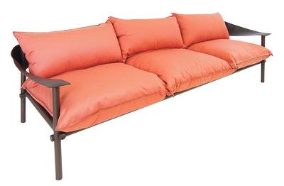 Canapé droit Terramare 3 places L 257 cm Emu marron,orange hibiscus en tissu