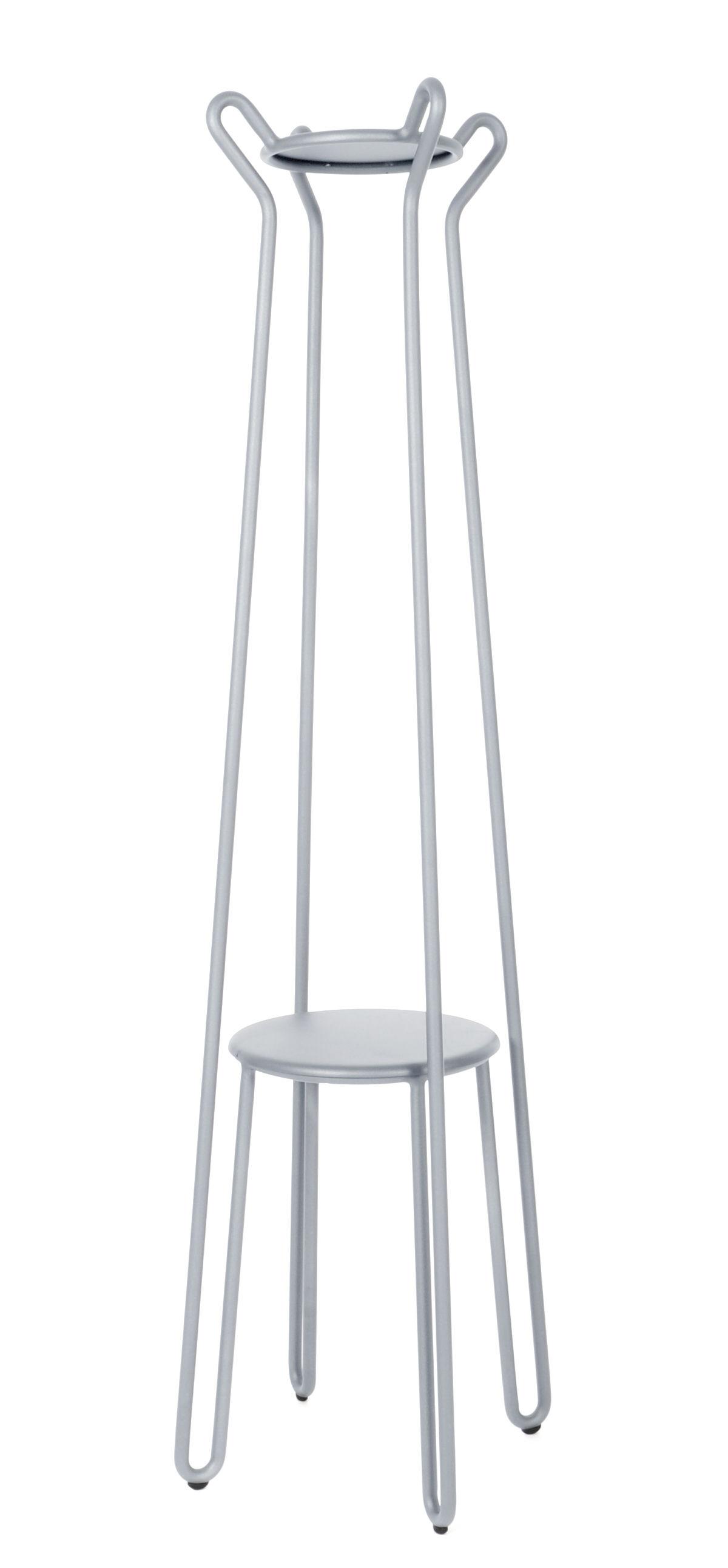 Furniture - Coat Racks & Pegs - Huggy Coat stand - H 178 cm / Aluminium by Maiori - Frosty grey - Lacquered aluminium