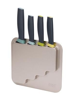 Cucina - Coltelli da cucina - Coltello da cucina DoorStore - / Set 4 coltelli + supporto adesivo di Joseph Joseph - Nero & argento - Acciaio inox, Silicone