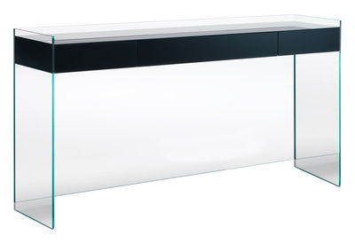Furniture - Console Tables - Float Console - 3 drawers - H 90 cm by Glas Italia - Black - Cristal, Wenge
