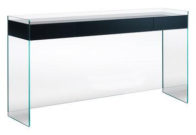Console Float / 3 tiroirs - L 203 x H 90 cm - Glas Italia noir en verre