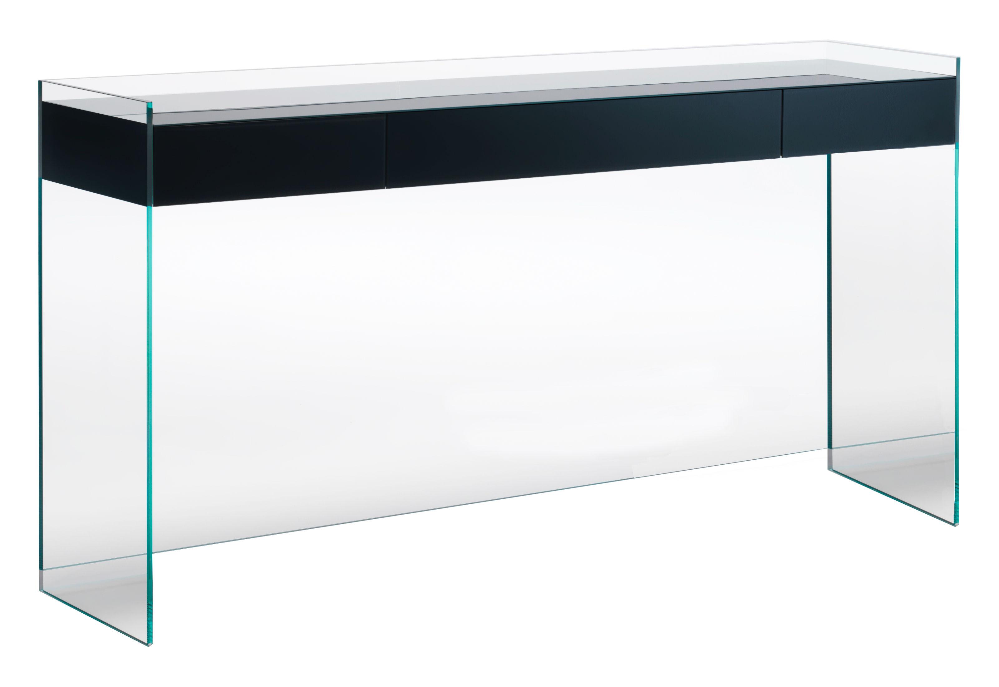 Mobilier - Consoles - Console Float / 3 tiroirs - L 203 x H 90 cm - Glas Italia - Noir - Cristal, Wengé