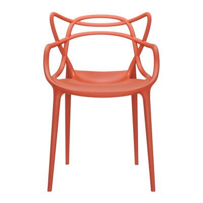 Mobilier - Chaises, fauteuils de salle à manger - Fauteuil empilable Masters / Plastique - Kartell - Orange rouille - Technopolymère thermoplastique recyclé