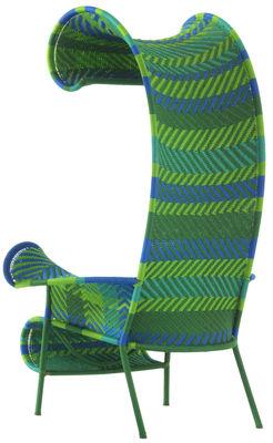 Mobilier - Fauteuils - Fauteuil Shadowy - Moroso - Multigreen (vert, bleu) - Acier verni, Fils plastique