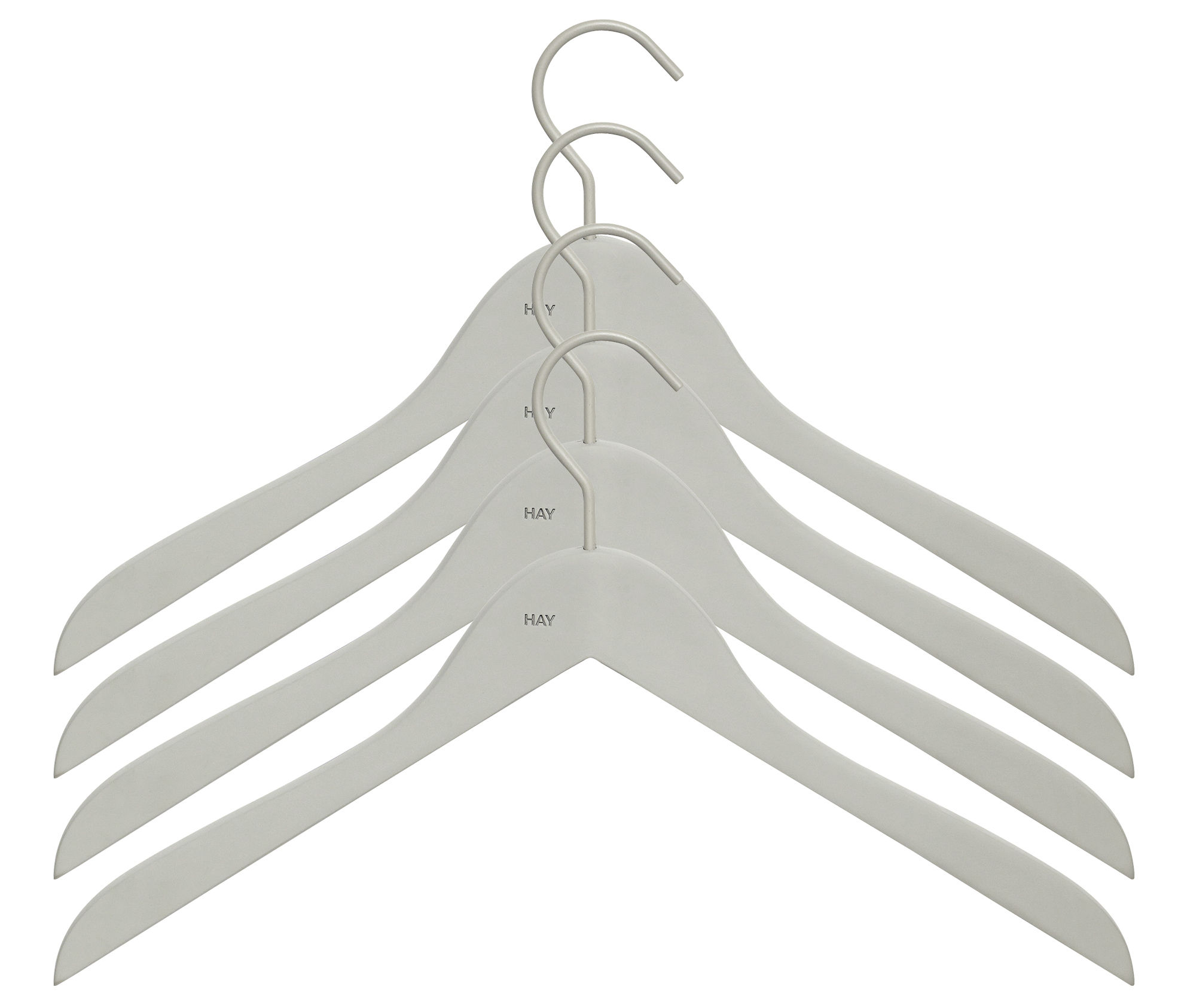 Decoration - Coat Stands & Hooks - Soft Coat Hanger - Slim - Set of 4 by Hay - Grey - Rubber, Wood