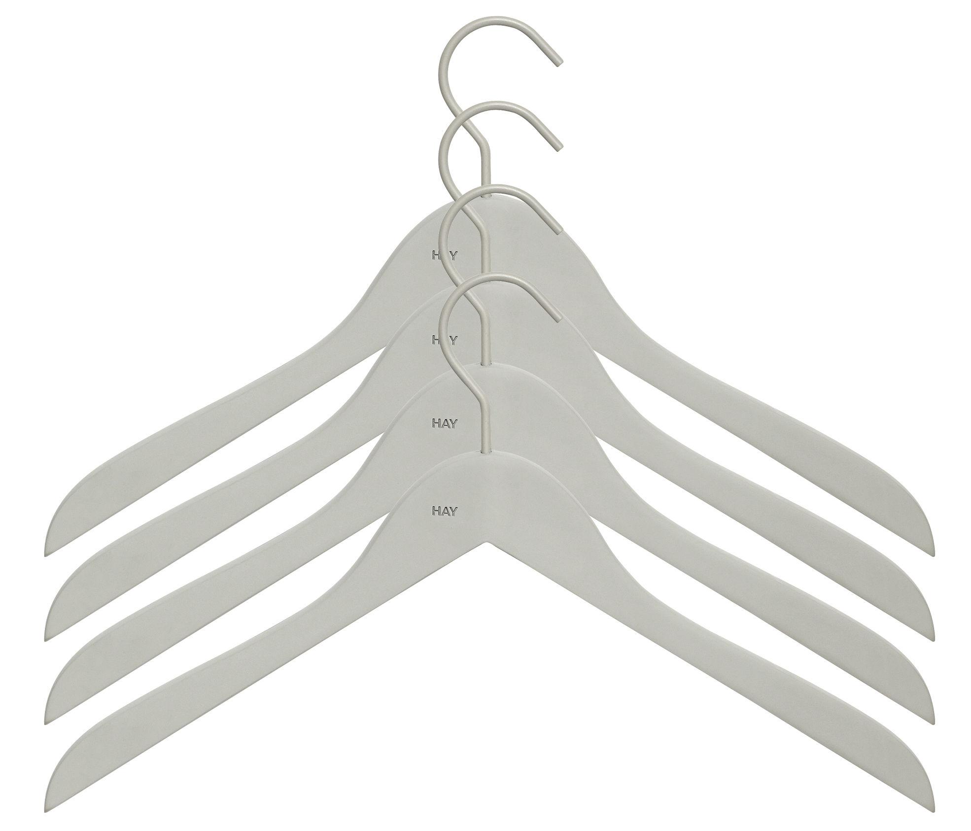 Dekoration - Garderoben und Kleiderhaken - Soft Coat Kleiderbügel schmal / 4er-Set - Hay - Schmale Bügel / grau - Holz, Kautschuk