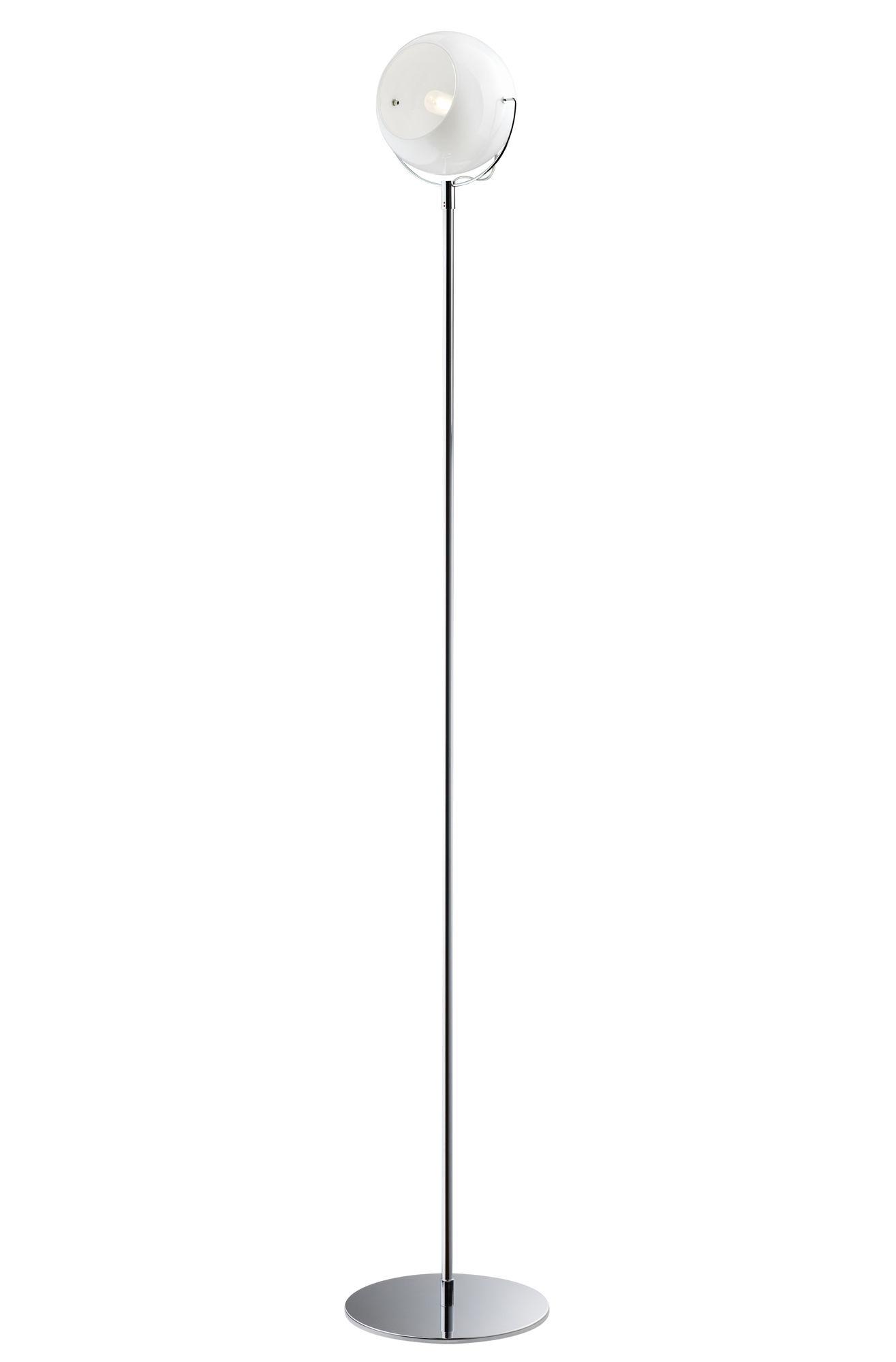 Illuminazione - Lampade da terra - Lampada a stelo Beluga Verre blanc di Fabbian - Bianco - Metallo cromato, Vetro