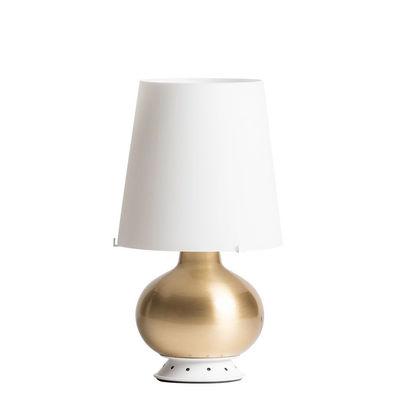 Illuminazione - Lampade da tavolo - Lampada da tavolo Fontana Small - / H 34 cm - Vetro & ottone di Fontana Arte - Bianco / Ottone - Ottone, vetro soffiato