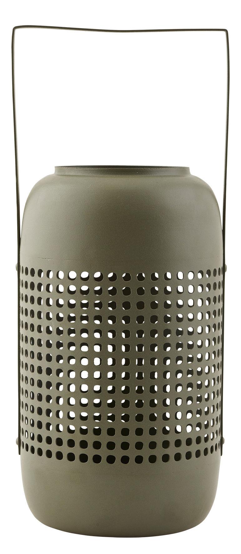 Déco - Bougeoirs, photophores - Lanterne Panel / Métal - H 28 cm - House Doctor - Vert kaki - Fer