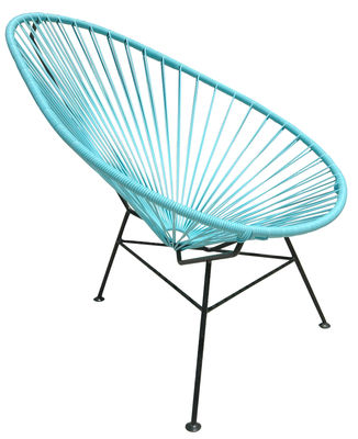 Furniture - Armchairs - Acapulco Low armchair by OK Design pour Sentou Edition - Turquoise - Lacquered steel, Plastic material