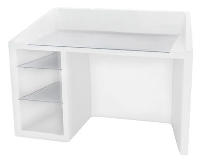 Furniture - Office Furniture - Kanal Luminous desk - Luminous by Slide - White - Glass, Recyclable polyethylene