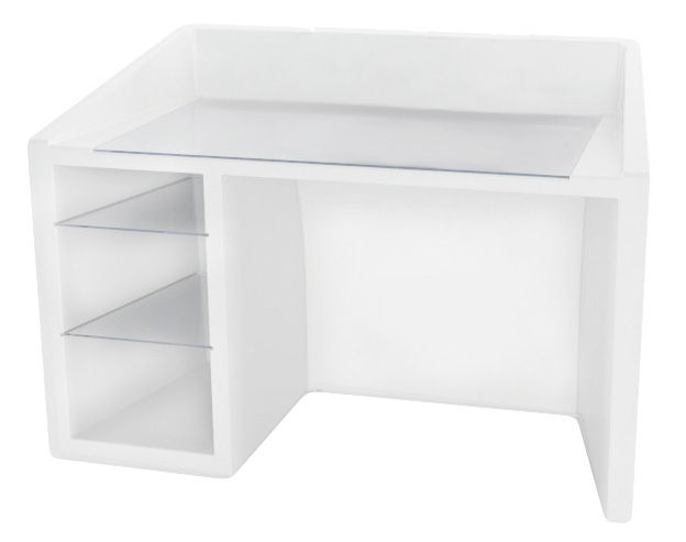 Furniture - Office Furniture - Kanal Luminous desk - Luminous by Slide - White - Glass, Polythene