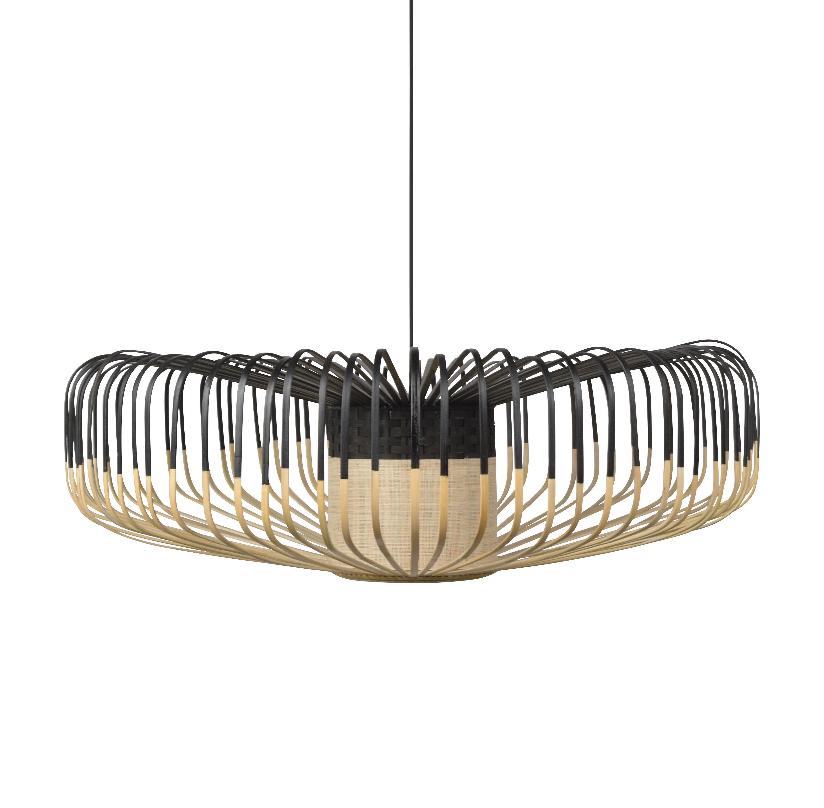 Leuchten - Pendelleuchten - Bamboo Up XXL Pendelleuchte / Ø 80 cm - Forestier - Schwarz - Bambus