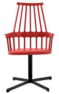 Arredamento - Poltrona girevole Comback - /Versione girevole di Kartell - Rosso aranciato / Gambe nere - Acciaio, policarbonato