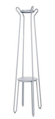 Mobilier - Portemanteaux, patères & portants - Portemanteau sur pied Huggy / H 178 cm - Aluminium - Maiori - Gris frosty - Aluminium laqué époxy