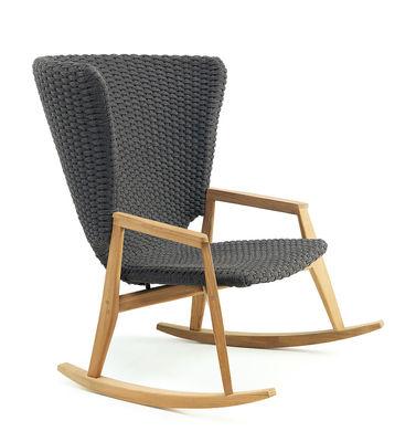 Rocking chair Knit / Corde synthétique - Ethimo gris en tissu/bois