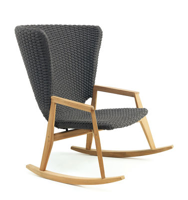 Furniture - Armchairs - Knit Rocking chair - / Synthetic rope by Ethimo - Lava Grey / Teak - Natural teak, Synthetic rope