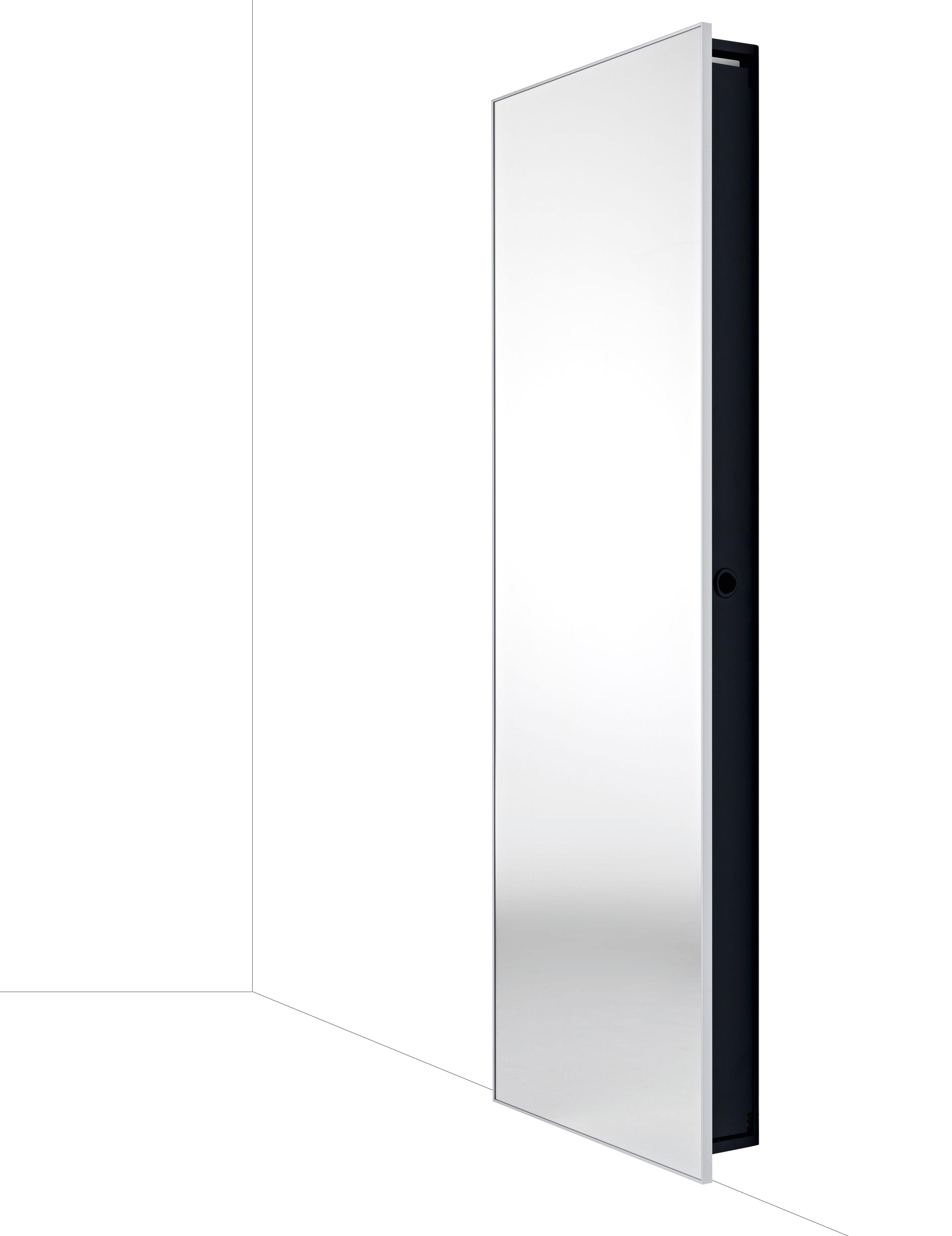 Möbel - Spiegel - Backstage Schrank / Spiegel - 64 x H 192 cm - Horm - L 64 cm x H 192 cm - Spiegel / Rahmen schwarz - Aluminium, bemalter Stahl, Spiegel-Finish